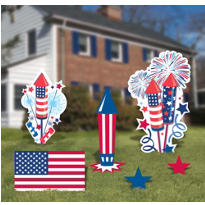 Patriotic Yard Signs 6pc