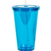 Blue Double Wall Tumbler with Straw 16oz