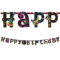 Add an Age Neon Doodle Birthday Banner 10ft