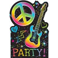 Neon Doodle Invitations 8ct