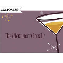 New Years Party Cocktail Custom Thank You Note