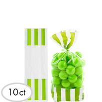 Green Striped Favor Bags 10ct