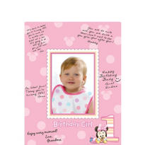 1st Birthday Minnie Mouse Autograph Photo Mat
