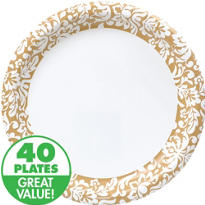 Gold Damask Heavy Duty Dinner Plates 40ct