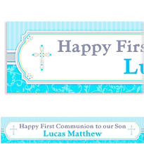 Blue Communion Blessings Custom Banner 6ft