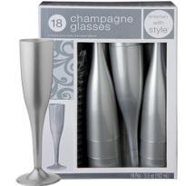 Silver Premium Plastic Champagne Flutes 18ct