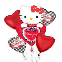 Foil Hello Kitty Lovin' Shape Valentines Day Balloon Bouquet 5pc