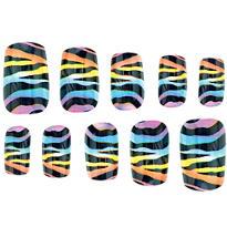 Rainbow Zebra Print Nails