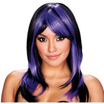 Brianna Black and Purple Wig