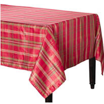 Metallic Holiday Plaid Fabric Tablecloth