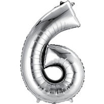 Number 6 Balloon - Silver