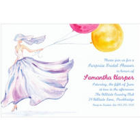 Bride with Balloons Custom Bridal Shower Invitation