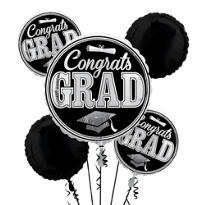 Foil Silver Congrats Grad Balloon Bouquet 5pc