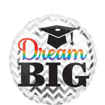 Foil Chevron Dream Big Graduation Balloon 18in