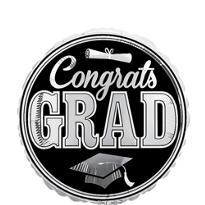 Foil Silver Congrats Grad Balloon 18in