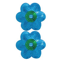 Blue Sequin Flower Hair Clips 2ct
