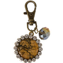 Vintage Rhinestone Map Key Chain