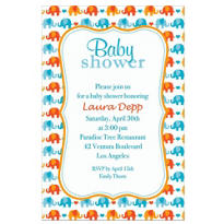 Custom Baby Elephant Pattern Boy Invitations