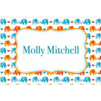 Baby Elephant Pattern Boy Custom Thank You Note