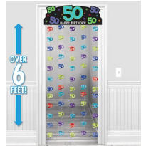 The Party Continues 50th Birthday Doorway Curtain 77in