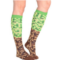 Green and Brown Pixel Knee-High Socks