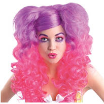 Pink and Purple Curly Wig