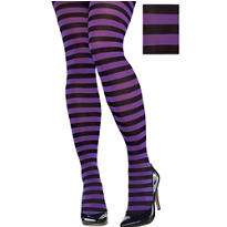 Adult Purple and Black Striped Tights Plus Size