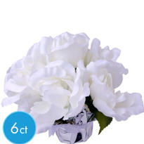 White Roses in Foil Pots 6ct