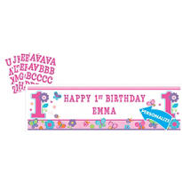 Sweet Girl 1st Birthday Personalized Banner