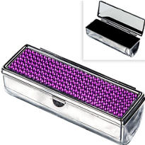 Purple Rhinestone Lipstick Case