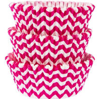 Bright Pink Chevron Baking Cups 75ct
