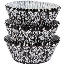 Black & White Damask Baking Cups 75ct