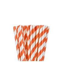 Orange Striped Paper Straws 24ct