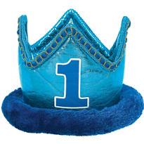 Plush Blue 1st Birthday Crown