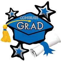 Blue Star Graduation Cap Graduation Balloon