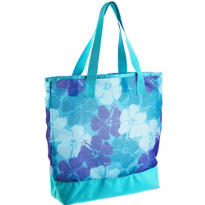 Blue Hibiscus Mesh Beach Tote Bag