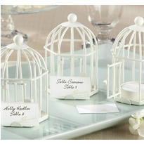 White Birdcage Tealight Candle & Place Card Holder