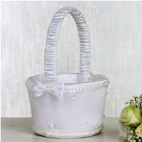 White Pearl Flower Girl Basket