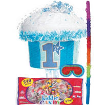 Pull String Blue 1st Birthday Cupcake Pinata Kit
