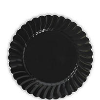 Black Scalloped Plastic Dessert Plates 20ct