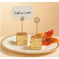 Gold Glitter Cube Place Card Holder