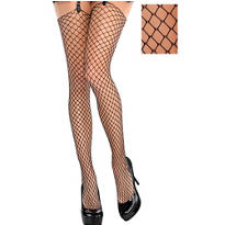 Black Diamond Fishnet Thigh High Stockings