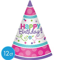 Purple & Teal Pastel Happy Birthday Party Hats 12ct