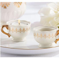 Gold Teacup Tealight Candle Holder