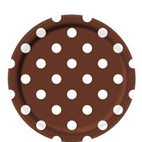 Chocolate Brown Polka Dot Lunch Plates 8ct