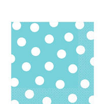 Caribbean Blue Polka Dot Lunch Napkins 16ct