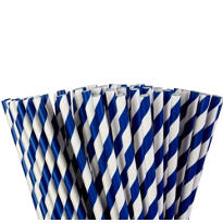 Royal Blue Striped Paper Straws 80ct
