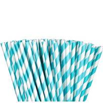 Robin's Egg Blue Striped Paper Straws 80ct