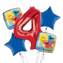 Sesame Street 4th Birthday Balloon Bouquet 5pc