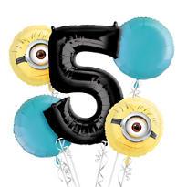 Despicable Me 5th Birthday Balloon Bouquet 5pc